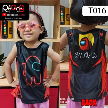 Kaos Among Us Anak, Tank Top Anak Full Printing T016