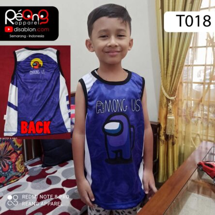 Kaos Among Us Anak, Tank Top Anak Full Printing T018
