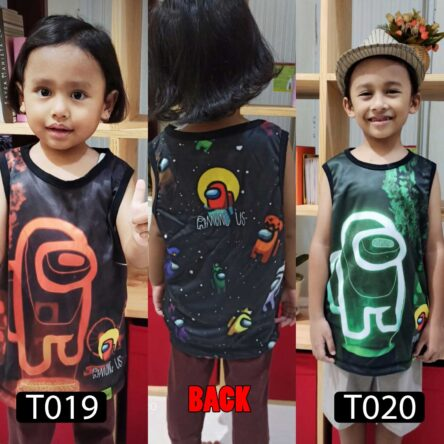 Kaos Among Us Anak, Tank Top Anak Full Printing T019